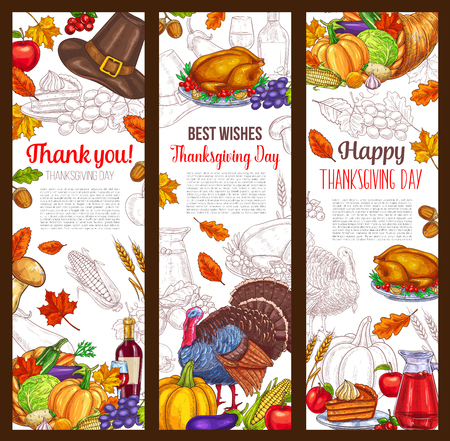 Thanksgiving day autumn holiday  banners
