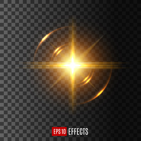 Light flash with lens flare effect vector icon Illustration