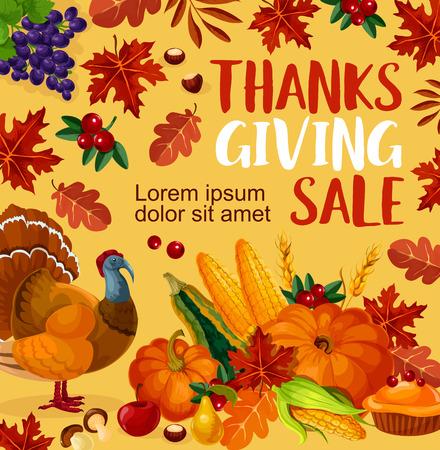 感謝祭の日ベクター販売ポスター