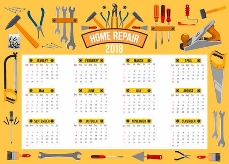 Vector calendar 2018 template of work tools.