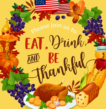 Thanksgiving day vector harvest greeting poster. Banco de Imagens - 86750068