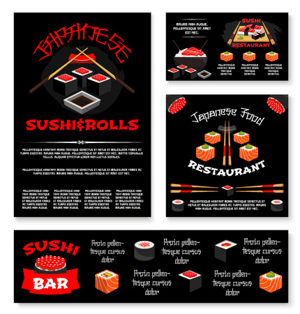 Vector templates for Japanese sushi restaurant.