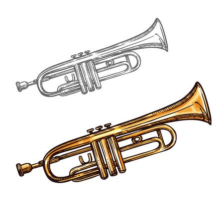 Vector sketch trumpet musical instrument.