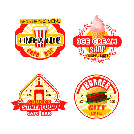 Fast food cinema bistro snacks vector icons.