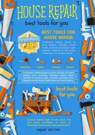 하우스 수리 포스터를위한 벡터 작업 도구입니다.