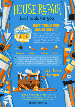 Vector work tools for house repair poster.