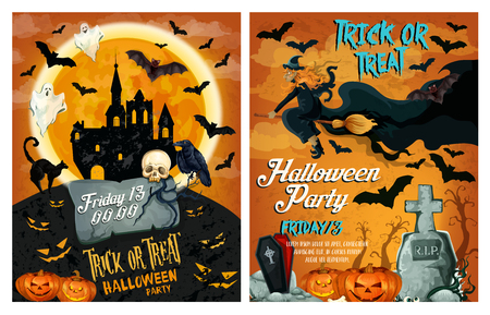 Halloween holiday party poster or invitation card template. Vector horror design of Halloween pumpkin lantern, haunted house on graveyard or dead man zombie hand or skull and full moon witch