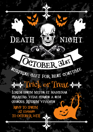 Halloween holiday poster of horror death party invitation template. Spooky skeleton skull banner, decorated with Halloween pumpkin lantern and ghost, gun and ribbon banner for autumn holiday design