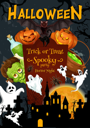 Halloween trick or treat night and party pumpkin Jack lantern poster for horror celebration. Vector Halloween pumpkin on tombstone, monster zombie and skeleton skull on grave and happy spooky ghost