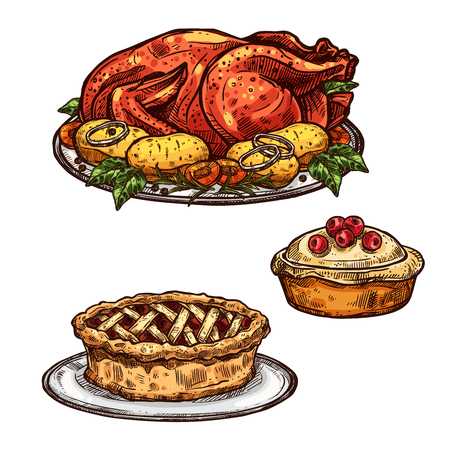 Thanksgiving day roasted turkey chicken, apple fruit or berry pie sketch icon. Vector isolated symbol of traditional dinner food dish for Thanksgiving seasonal holiday greeting design template
