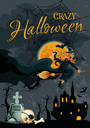 Halloween trick or treat holiday poster of witch flying on broom on haunted castle house in night. Vector Halloween greeting card design of skull bones on tomb and grave, spider web and black bats