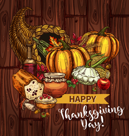 Happy Thanksgiving Day greeting posters and banners of roasted turkey and pie or bread, pumpkin or corn and fruit harvest. Thanksgiving holiday vector sketch pilgrim hat, maple and oak leaf Illustration