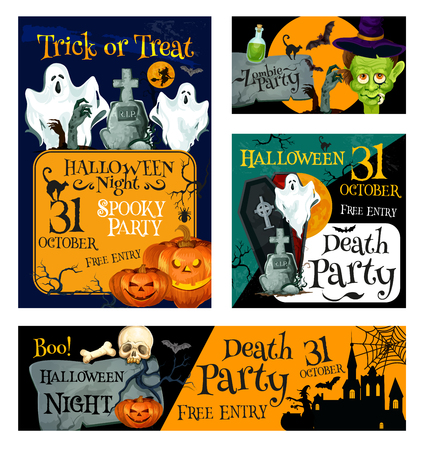 Halloween night zombie party banner template. Halloween holiday pumpkin lantern, bat and ghost, witch and black cat, creepy skeleton skull, house and cemetery, coffin and moon for invitation design Illustration