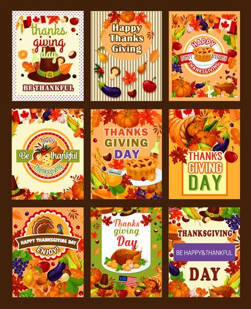 Thanksgiving day groet posters van kalkoen en wijn, fruit taart, pompoen of maïs, maple leaf of eiken eikel op pelgrimshoed. Vector Thanksgiving cornucopia oogst voor traditionele dankbare vakantie