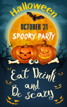 Halloween party pumpkin Jack lantern and moon invitation poster template. Vector design of scary skull and skeleton zombie bones on cemetery grave, spooky ghost eyes for Halloween celebration