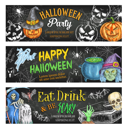 Halloween holiday horror or death party sketch banners for trick or treat night. Vector Halloween pumpkin lantern, death and scythe or skeleton skull and witch potion cauldron or tomb on graveyard
