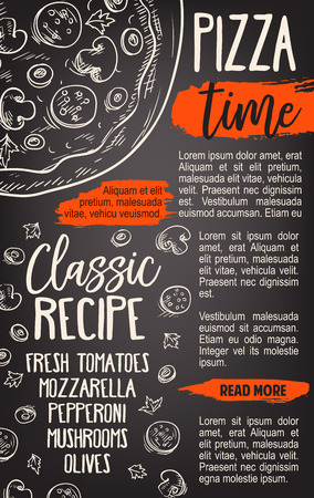 Pizza fast food poster template for pizzeria or Italian restaurant menu. Vector sketch of margherita or capricciosa recipe with mozzarella cheese, tomatoes or pepperoni and mushrooms or olives