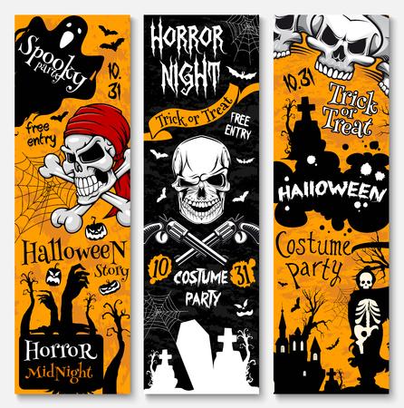 Banner de horror de vacaciones Halloween de fiesta de disfraces de piratas. Fantasma espeluznante, calavera con tibias cruzadas, calabaza de Halloween y murciélago, araña, esqueleto con guadaña de la muerte en cementerio y diseño de cartel de la casa embrujada Foto de archivo - 87063505