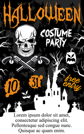 Halloween holiday zombie party poster. Ghost haunted house and zombie grave banner template with horror skeleton skull, Halloween pumpkin lantern and spooky tree for Halloween night celebration design