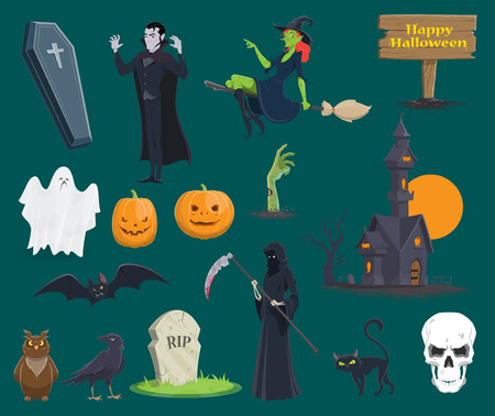 Halloween icons set of pumpkin, monsters and witch or zombie and vampire for trick or treat greeting card design. Vector symbols of skeleton skull, tombstone on graveyard or black bat and coffin