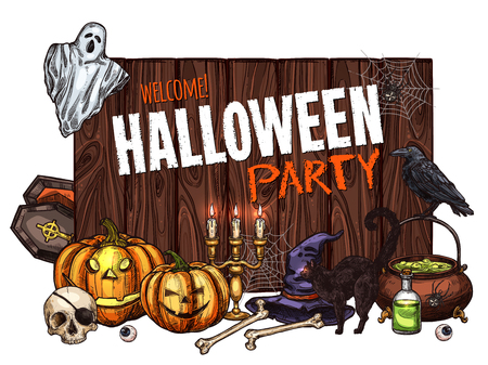 Halloween monsters party poster for trick or treat holiday night celebration. Vector pumpkin lantern, zombie skeleton skull, witch cauldron and black cat, tombstone grave and spooky Halloween ghost Illustration