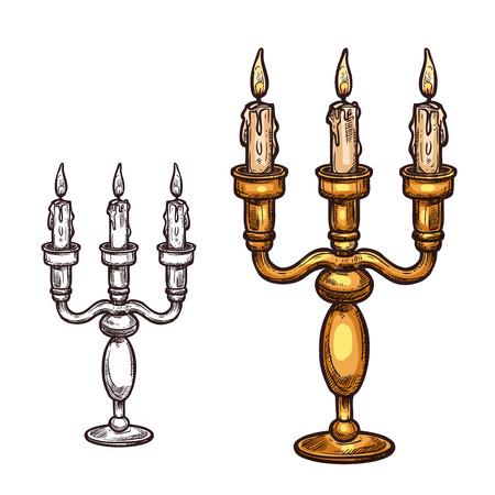 ハロウィン キャンドル燭台スケッチ アイコン。古いレトロな真鍮燭台のろうそくの炎 3 をベクトルします。ハロウィーン ホラー ホリデー パーティ