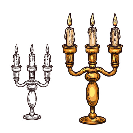 Halloween candle in candlestick sketch icon. Vector burning flame three candles in old retro brass candelabrum. Isolated symbol of Halloween horror holiday party and trick or treat holiday celebration Çizim