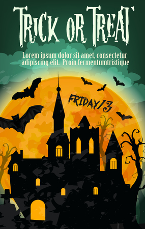 Halloween trick or treat holiday and Friday 13 spooky poster design. Vector Halloween orange moon, haunted house or witch and black forest with night bats and zombie hand on graveyard tombstone