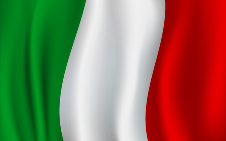 Italy flag 3D background of green, white and red vertical color stripes. Italian republic country official national flag waving with curved fabric or waves vector texture Çizim