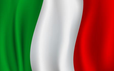 Vlag van Italië 3D achtergrond van groene, witte en rode verticale kleurstrepen. De officiële nationale vlag die van het officiële land van de republiek met gebogen stof of golven vectortextuur golft Vector Illustratie