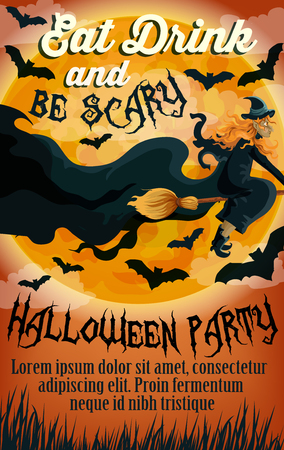 Halloween eat or drink and trick or treat party invitation poster template. Vector Halloween orange moon and witch on broom flying with black bats and monster cats on scary graveyard forest
