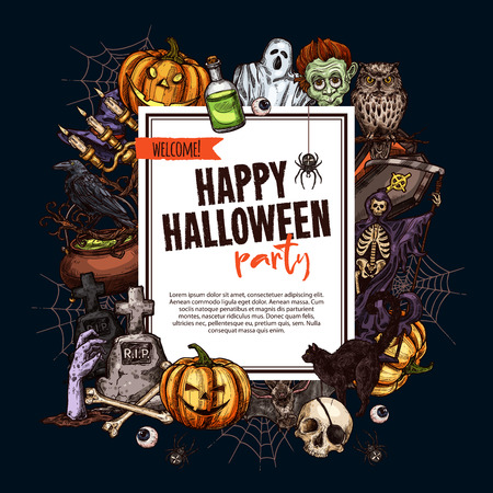 Halloween monsters party poster for trick or treat holiday night celebration. Vector sketch pumpkin lantern, zombie or skeleton skull in coffin, spooky Halloween ghost on graveyard tombstone Ilustrace