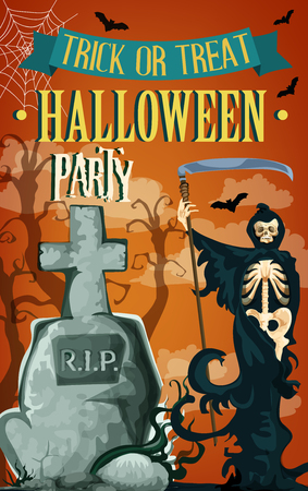 Halloween trick or treat party celebration poster template or invitation card. Vector Halloween tombstone on grave, death skeleton skull with scythe and creepy dead monster forest and black bats Иллюстрация