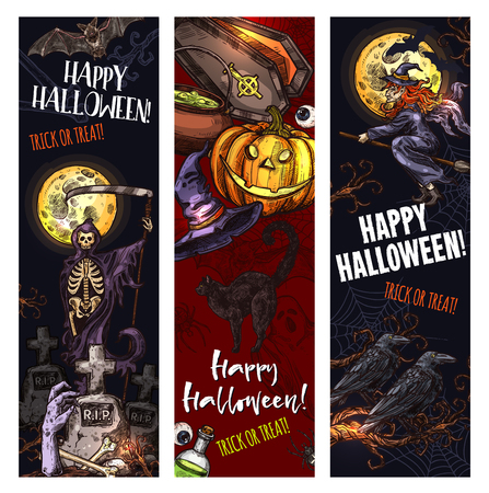 Halloween trick or treat holiday monsters sketch banners for spooky night celebration. Vector pumpkin lantern, zombie hand or skeleton skull in coffin and tombstone on grave and spooky Halloween ghost Ilustração