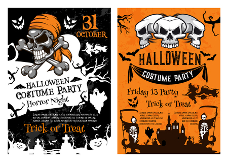 Halloween pumpkin, pirate skull and spooky skeleton for horror night party poster template. Creepy ghost and witch, haunted house and cemetery grave for Halloween banner and invitation flyer design Illustration