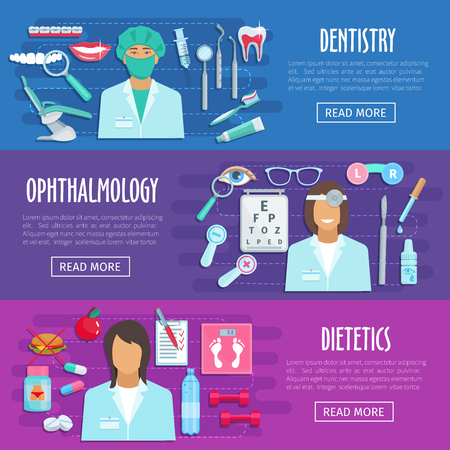 Hospital doctors of ophthalmology, dietetics and dentistry. Vector banners of medical personnel and medicines eye dropper, syringe or diabetic pills and stethoscope, tooth implant and dental braces Stock Vector - 87063534