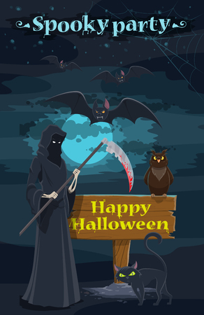 Halloween holiday horror night party banner. Spooky skeleton or grim reaper with death scythe invitation poster with black cat and bat, full moon and spider web for Halloween celebration design