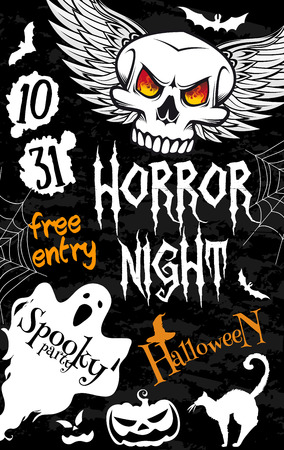 Halloween spooky ghost banner for horror night party template. Halloween skull with angel wings and pumpkin lantern in witch hat poster with bat, spider web and black cat for Halloween holiday design Illustration