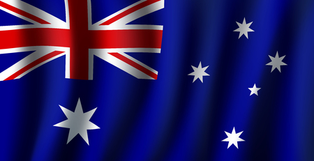 Australia flag 3D background of white stars and British flag on blue background. Australian republic country official national flag waving with curved fabric or waves vector texture