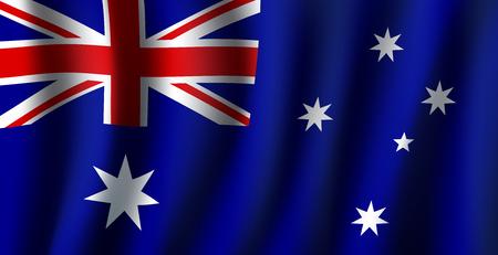 Vlag van Australië 3D achtergrond van witte sterren en Britse vlag op blauwe achtergrond. Australische nationale officiële vlag die van het republiekland met gebogen stof of golven vectortextuur golven