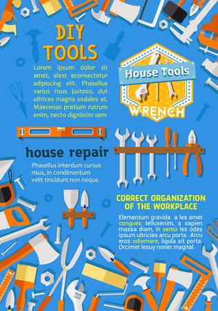 Réparation maison et rénovation bricolage outils de travail affiche plat. Boîte à outils de vecteur de perceuse de menuiserie, scie ou marteau et meuleuse, clé de menuiserie de rénovation domiciliaire ou clé et clous, pinceau de peinture intérieure