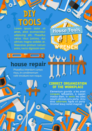 House repair and renovation DIY work tools flat poster. Vector toolbox of carpentry drill, saw or hammer and grinder, home renovation woodwork wrench or spanner and nails, interior painting paintbrush