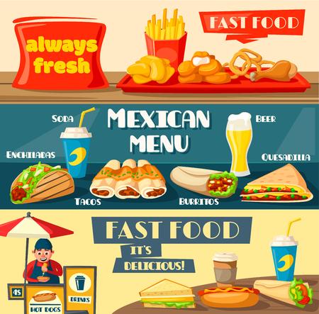 패스트 푸드 배너는 퀵 푸드 또는 스트리트 푸드 레스토랑이나 비스트로로 설정됩니다. 햄버거, 멕시코 타코 또는 버리 토, 치즈 버거 또는 햄버거 및  일러스트
