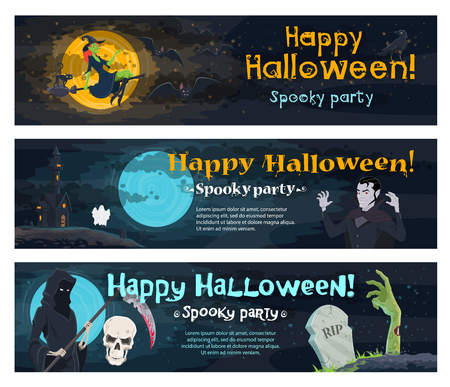 Halloween holiday spooky party invitation banner. Ghost haunted house, witch, bat and black cat, horror skull, skeleton with death scythe, zombie and vampire on cemetery for Halloween night design Illustration