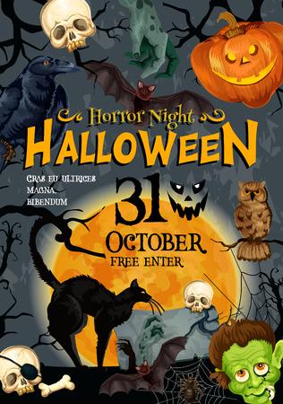Halloween truco o trato monstruo spooky partido cartel o tarjeta de invitación plantilla de diseño de flyer. Cráneo del esqueleto del zombi del vector, linterna de la calabaza de Halloween y fantasma espeluznante en la piedra sepulcral en cementerio asustadizo