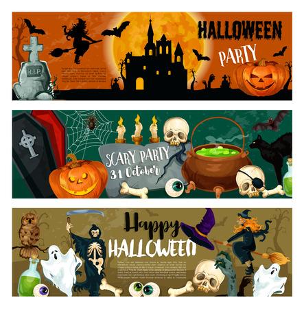 할로윈 파티 배너 괴물과 마녀, 호박 랜 턴과 묘지에 유령 유령. 해피 할로윈 디자인 죽음, 좀비 손 및 두개골에 tombstone 및 골격 뼈대 가마솥에