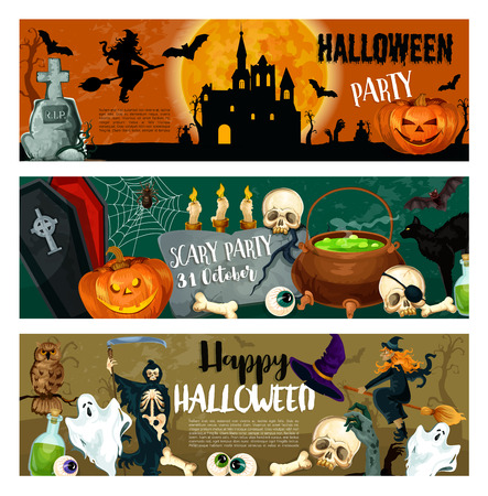 Halloween party banners of monsters and witch, pumpkin lantern and spooky ghost on graveyard. Vector Happy Halloween design of death, zombie hand and skull on tombstone and skeleton bones in cauldron