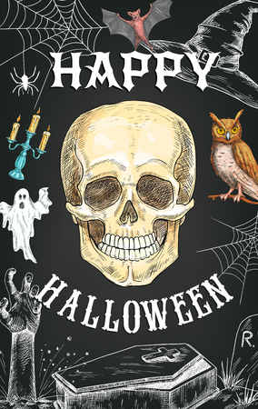 Happy Halloween greeting card or poster sketch design of skeleton zombie skull for October horror night. Vector spooky ghost, witch owl or black bat and coffin, dead hand on grave in spider web Çizim