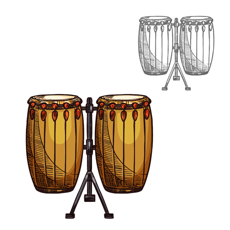 Drums musical instrument sketch icon. Vector isolated folk leather and wood drums or ethnic African djembe percussion for jazz or classic music concert design and orchestra festival Vectores