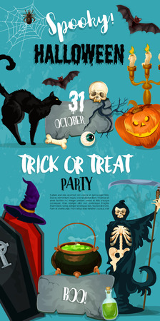 Halloween trick or treat party invitation poster of pumpkin lantern, witch in coffin and spooky death. Vector horror design of Halloween night zombie hand and tomb or potion cauldron on graveyard Illustration